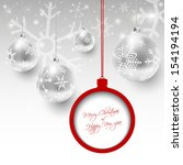 christmas card with silver... | Shutterstock .eps vector #154194194