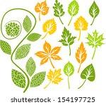 leaves set   Shutterstock .eps vector #154197725