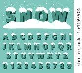 Retro Type Font With Snow ...