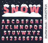retro type font with snow ...   Shutterstock .eps vector #154197914