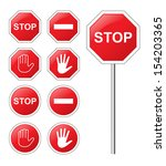 traffic sign stop set. | Shutterstock .eps vector #154203365