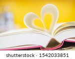 Close Up Book Image In Heart...
