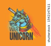 colorful unicorn warrior  with...   Shutterstock .eps vector #1542147611