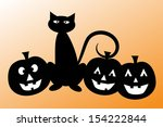 halloween black cat and pumpkins | Shutterstock . vector #154222844