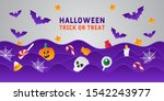 happy halloween banner or party ... | Shutterstock .eps vector #1542243977