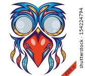 colorful bird mask shirt design | Shutterstock .eps vector #154224794