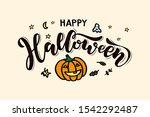 happy halloween   handwritten... | Shutterstock .eps vector #1542292487