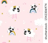 cute little panda  rainbow and... | Shutterstock .eps vector #1542306974