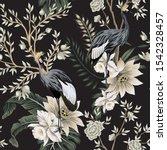 vintage garden tree  crane bird ... | Shutterstock .eps vector #1542328457