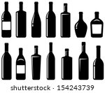 set of black glossy wine... | Shutterstock .eps vector #154243739