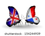 two butterflies with flags on... | Shutterstock . vector #154244939