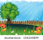 tree and flowers in the meadow. ... | Shutterstock .eps vector #154245899