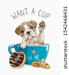 typography slogan with cute dog ... | Shutterstock .eps vector #1542468431