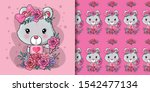 greeting card bear with flower... | Shutterstock .eps vector #1542477134