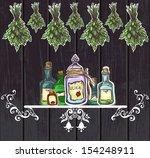 herbal potions vintage wooden...   Shutterstock .eps vector #154248911