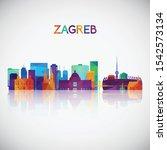 zagreb skyline silhouette in...   Shutterstock .eps vector #1542573134