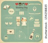 wedding invitation card in... | Shutterstock . vector #154258835