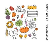 farm living collection. linear... | Shutterstock .eps vector #1542589301