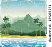 tropical asian landscape with... | Shutterstock .eps vector #154258991