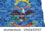 North Dakota Map On A Brick...
