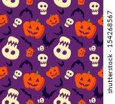vector funny halloween pattern... | Shutterstock .eps vector #154268567