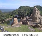 Side view of Rock Cut Temple in Masroor located in Distt. Kangra Himachal Pradesh. Whole Temple is made by cutting a single rock.