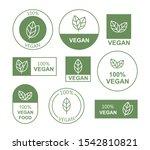 set flat vegan icon on white... | Shutterstock .eps vector #1542810821