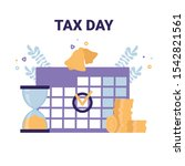 tax day flat vector icons... | Shutterstock .eps vector #1542821561