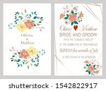 vector cards with flowers... | Shutterstock .eps vector #1542822917