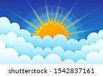 Cartoon Clouds With Sun On Blue ...