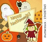 retro halloween card with witch ... | Shutterstock .eps vector #154287365