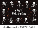 dancing skeletons. funny white... | Shutterstock .eps vector #1542915641