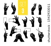 Hands gestures with card and pen. Vector woman black hands silhouettes holding paper tablet and scissors, cigarette and pointer isolated on white background