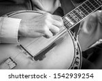 Black And White Image Of Banjo...