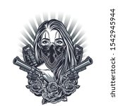 vintage chicano tattoo concept... | Shutterstock .eps vector #1542945944
