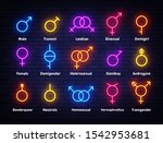 gender neon icons set. sexual... | Shutterstock .eps vector #1542953681