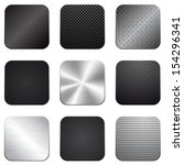 Apps metal-carbon icon set - stock vector