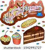 vector lettering and sweets for ... | Shutterstock .eps vector #1542991727