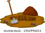 digging a hole. shovel and dry...   Shutterstock .eps vector #1542996011