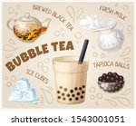 bubble tea glass and food... | Shutterstock .eps vector #1543001051