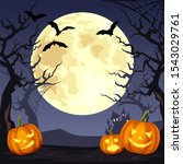vector halloween night... | Shutterstock .eps vector #1543029761