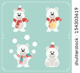 Set of cute bears. Vector illustration