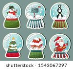 christmas snow globe stickers... | Shutterstock .eps vector #1543067297