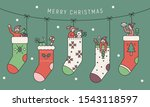 cute socks are hanging people...   Shutterstock .eps vector #1543118597