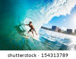 surfer on blue ocean wave in... | Shutterstock . vector #154313789
