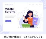 waste sorting page flat vector...