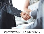 Small photo of Man in suit shake hand as hello in office closeup. Friend welcome mediation offer positive introduction greet or thanks gesture summit participate approval motivation strike arm bargain concept.