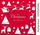santa claus  reindeers ... | Shutterstock .eps vector #1543249361