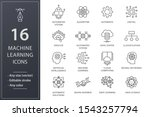 machine learning line icons.... | Shutterstock .eps vector #1543257794