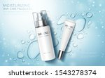 Moisture skincare product ads with watery water drops and glitter effects on blue background, flat lay